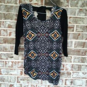 Maternity Tribal Cut out Bow back 3/4 sleeve top